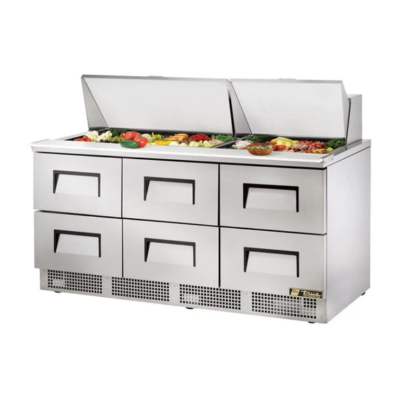 True TFP-72-30M Food Prep Table with 6 Drawers