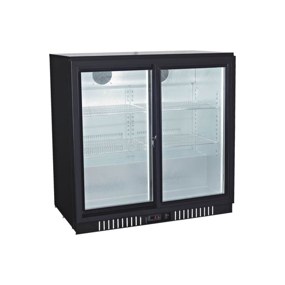 Double Sliding Glass Door Back Bar Cooler, Back Bar Cooler  - Iron Mountain
