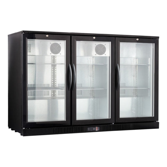 3-Door Back Bar Cooler - Black