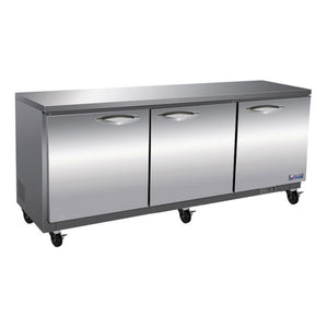 "IKON 72"" Under-Counter 3 Door Stainless Steel Freezer"