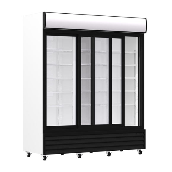 Triple Sliding Door Upright Display Cooler, Display Cooler  - Iron Mountain