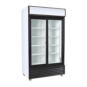 Double Sliding Glass Door Upright Display Cooler, Display Cooler  - Iron Mountain