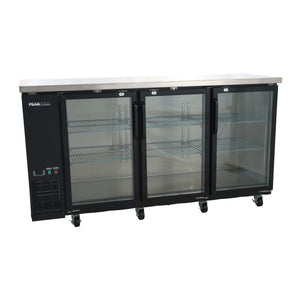 "72"" 3-Door Glass Front Back Bar Cooler - Black"