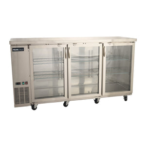 "72"" Stainless 3-Door Glass Front Back Bar Cooler"