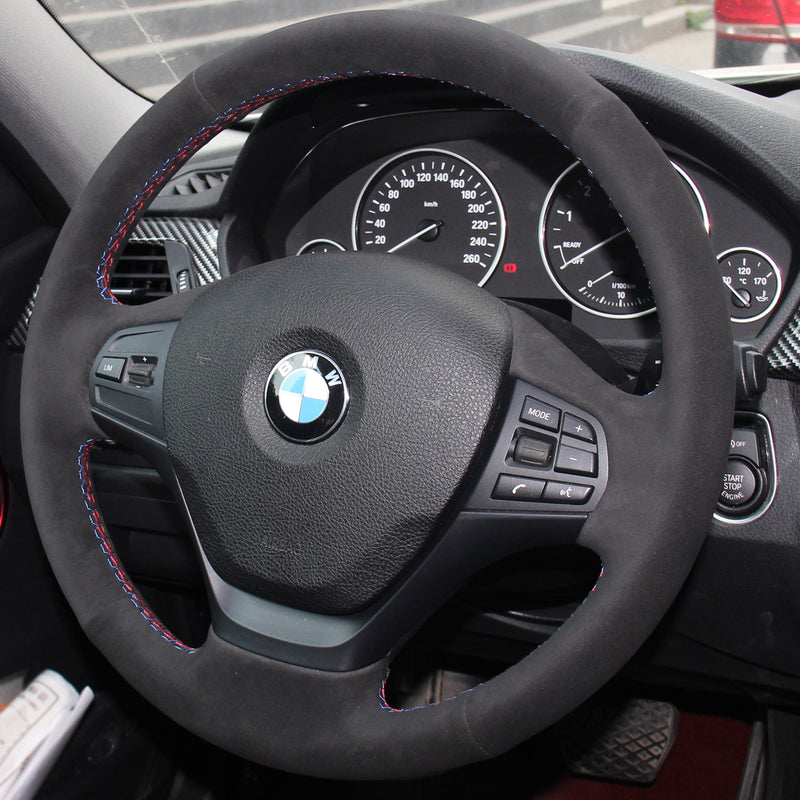 Custom Suede Steering Wheel Cover for BMW