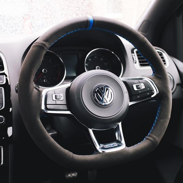 Custom Suede Steering Wheel Cover for VW - DSG Paddles