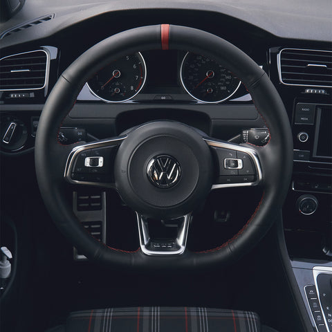 Custom Leather Steering Wheel Cover for VW