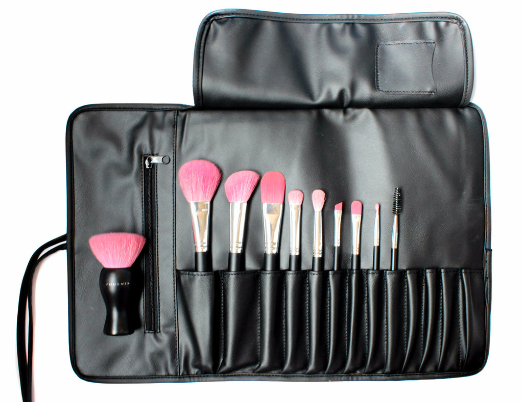Phoenix 10 Piece Brush Set – Black Brush Roll