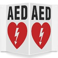 AED wall sign- 3 way