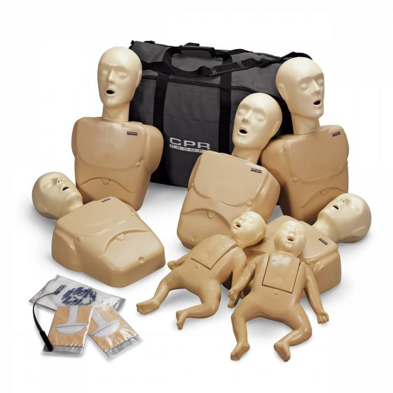CPR PROMPT 7-PACK MANIKINS - 5 ADULT/CHILD / PEDIATRIC & 2 INFANT / BABY - TAN