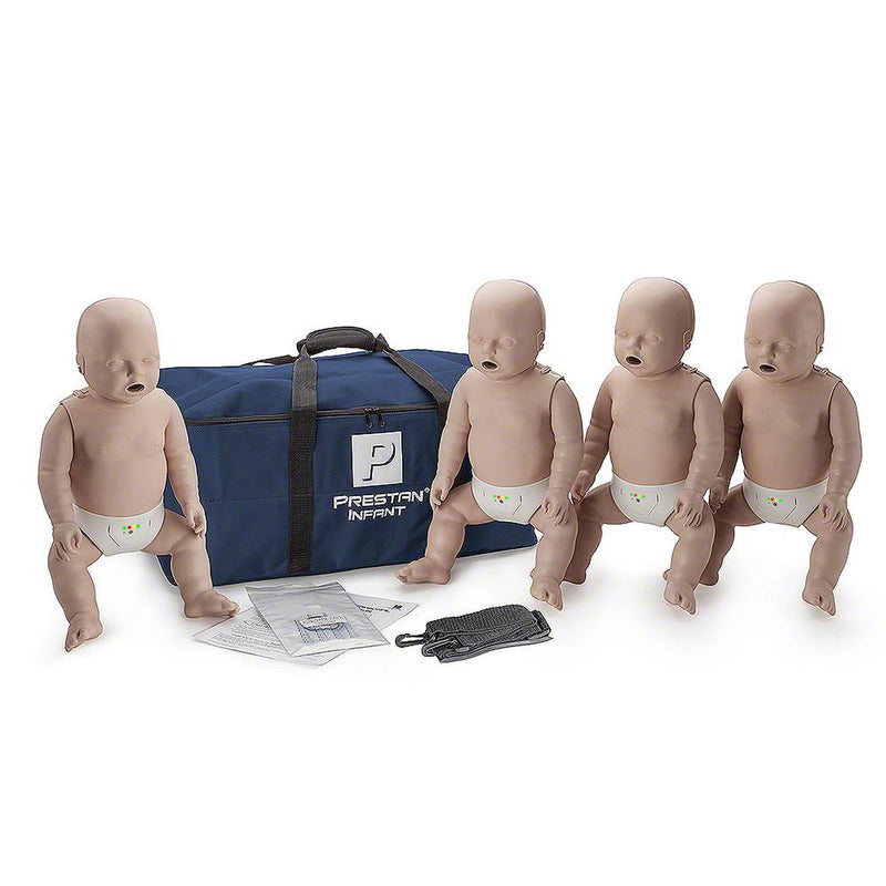 PRESTAN INFANT / BABY CPR MANIKIN W/ MONITOR - 4 PACK - MEDIUM SKIN