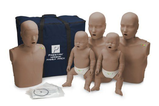 CPR Training Products - Prestan Family Pack Of CPR Manikins (2 Adults, 1 Child, & 2 Infants) With Compression Rate Monitors