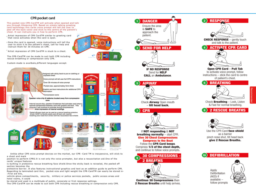 Electronic CPR Pocket Card and Face Shield