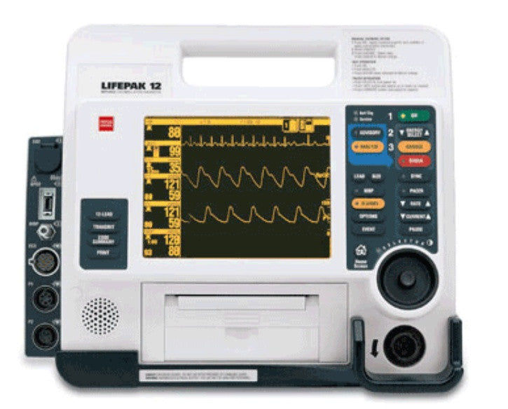 Physio Control Lifepak 12 - 12 Lead AED, Pacing, NIBP, SpO2, EL Screen - Refurbished Recertified