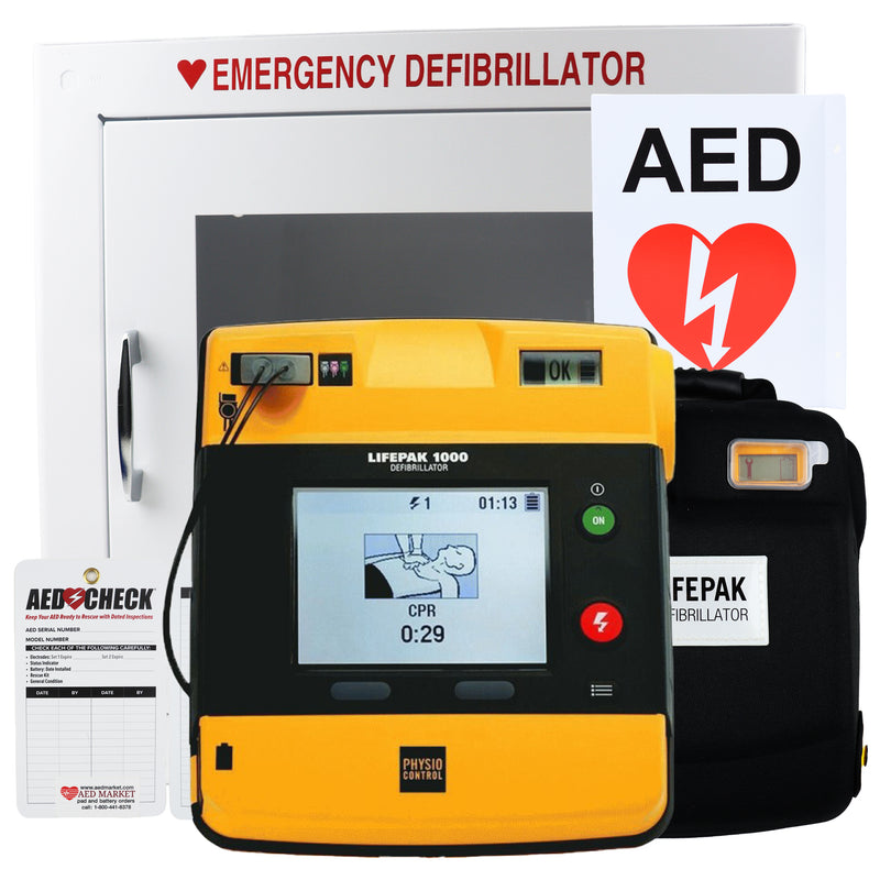 Physio Control Lifepak 1000 AED Graphical Display - New AED Value Package