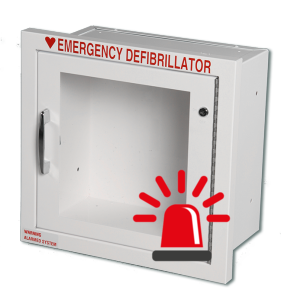 Semi Recessed AED Wall Cabinet with alarm