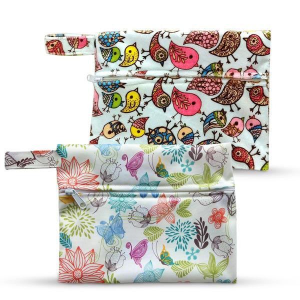 Dutchess Wet Bags x2 / Bird Print & Floral Print Menstrual Napkins & Breast Pads Storage Bags