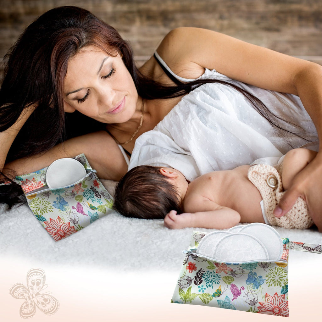 Dutchess Wet Bags x2 / Swirl Print & Bird Print Menstrual Napkins & Breast Pads Storage Bags
