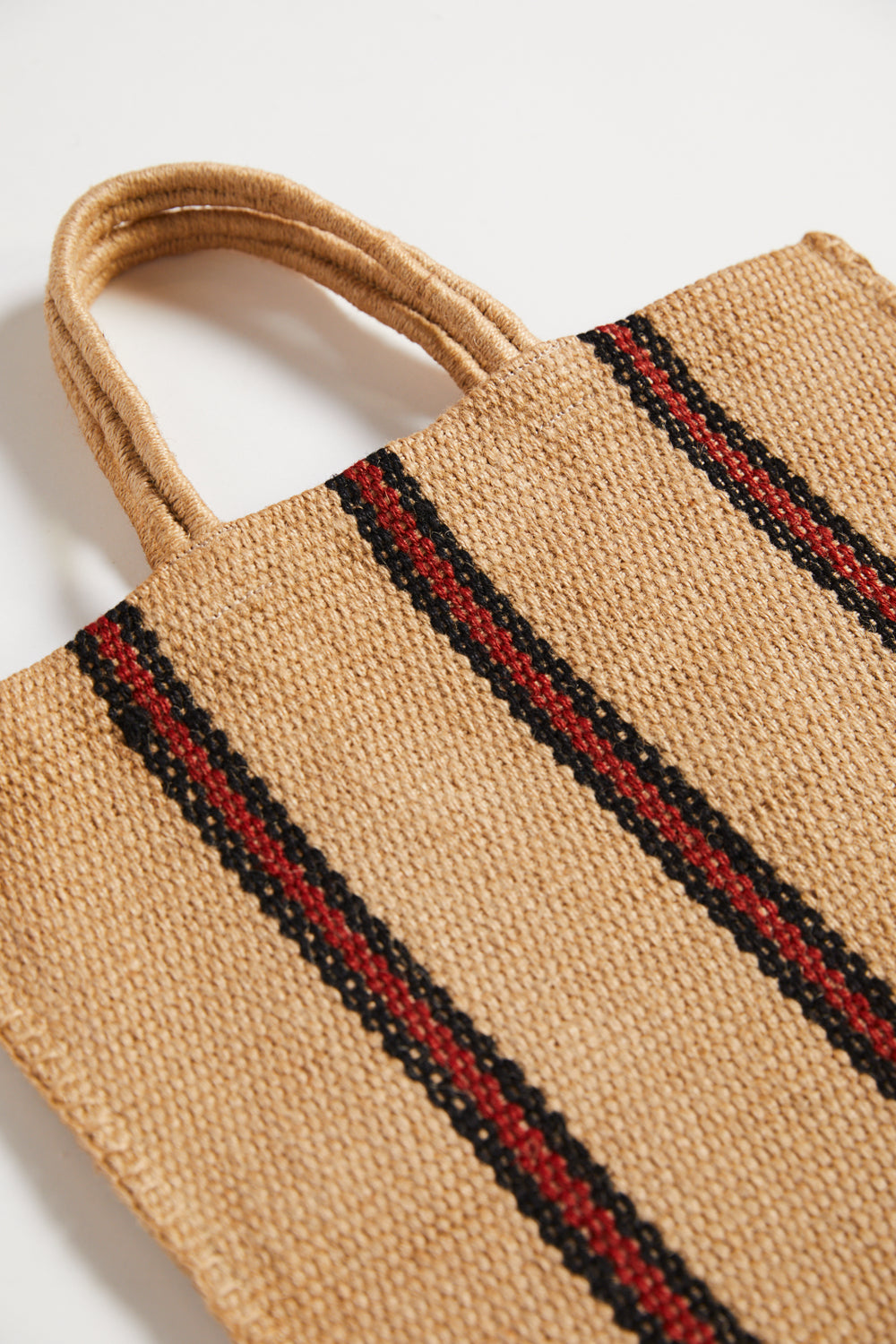Turtle Organic Stripey Jute Bag - Red