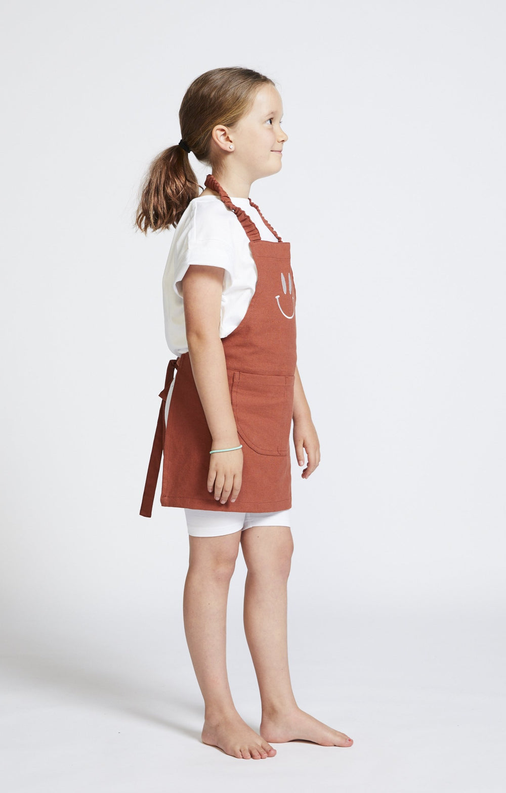 Smiley Kids Apron - Rust