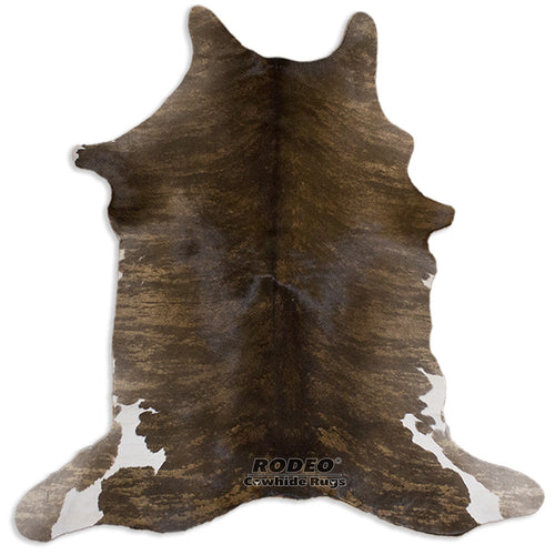Brown Brindle Rodeo Hair on Calfskin - Rodeo Cowhide Rugs