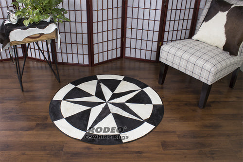 Black & White Patchwork Rug - Rodeo Cowhide Rugs
