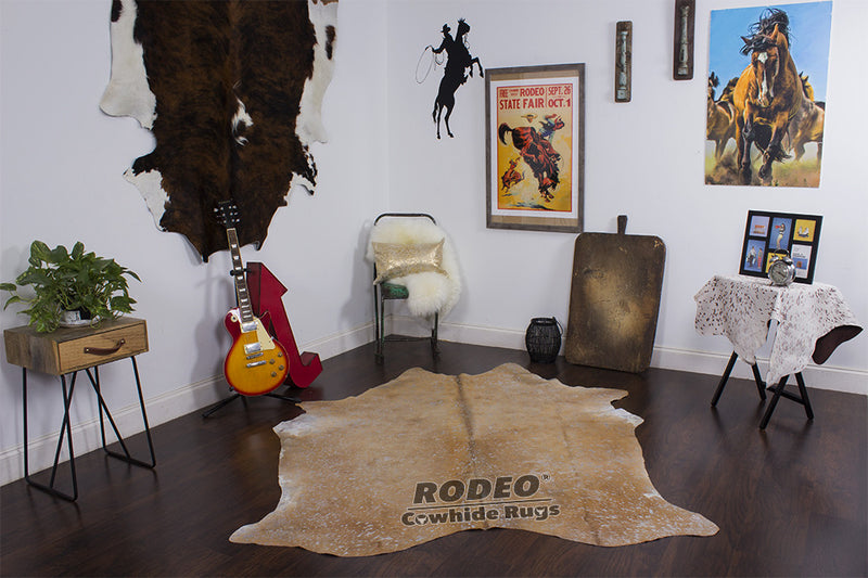 "Brownie Acid Wash Rodeo Cowhide Rug 7'3"" x 5'6"" ft - 1612"