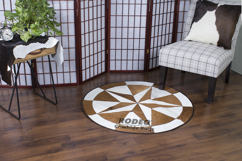 Brown & White Patchwork Rug - Rodeo Cowhide Rugs