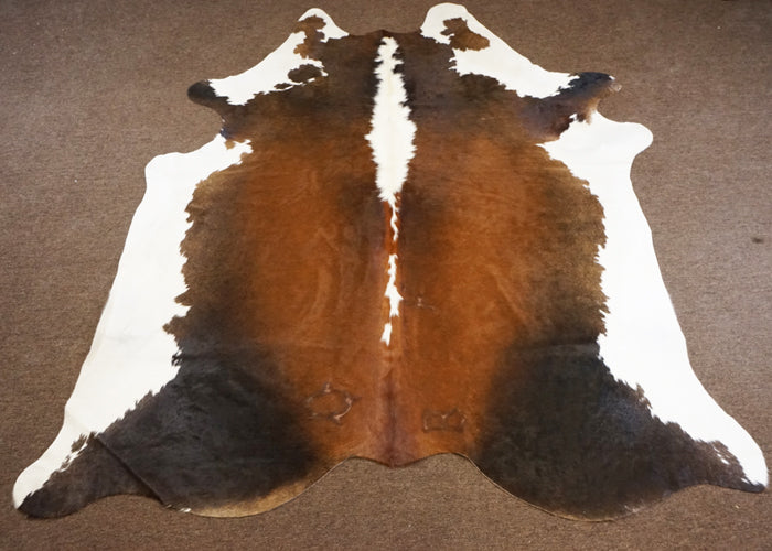 Extra large Brazilian Chocolate and White Rodeo Cowhide rug 7.7x 7 ft --2743 - Rodeo Cowhide Rugs