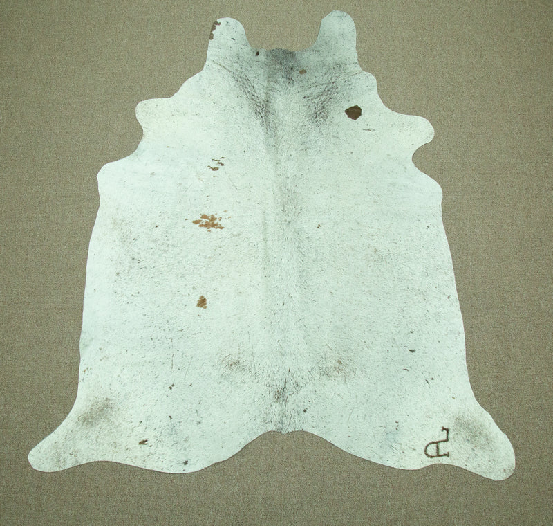 Large Brazilian salt and pepper Cowhide rug 6.2 x 5.5 ft -2859