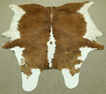 Extra Large Brown and white cow skin Cowhide rug 7.6x 6.9 ft -2903