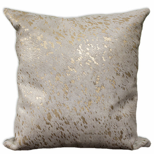 Large Gold acid washed cowhide pillow