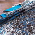 Blue Acid Wash on Black Salt & Pepper Cowhide Rug - Rodeo Cowhide Rugs