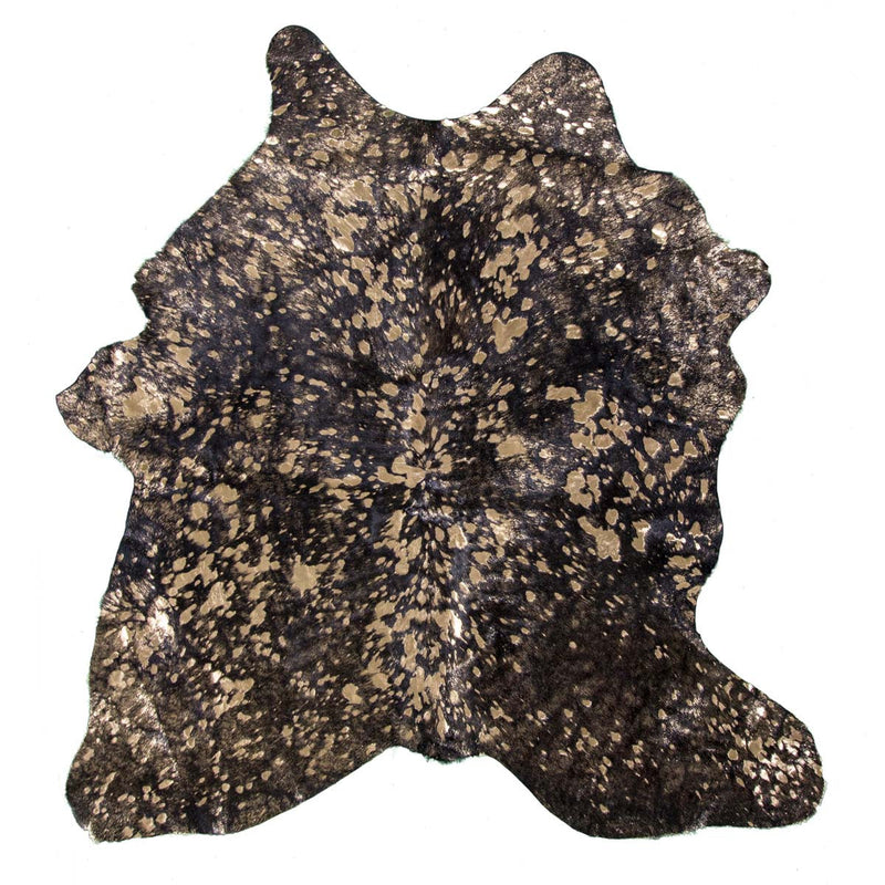 Gold on Black Acid Wash Calfskin - Rodeo Cowhide Rugs