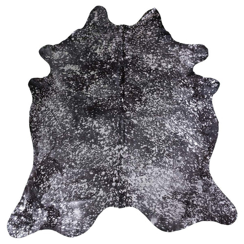 Devore Metallic Silver on Black Cowhide Rug - Rodeo Cowhide Rugs
