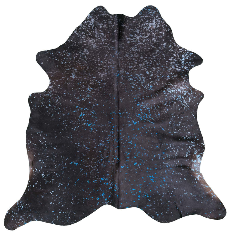 Blue Acid Washed on Black Cowhide Rug - Rodeo Cowhide Rugs