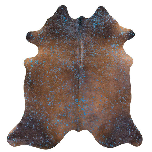 Blue Acid Wash on Brown Cowhide Rug - Rodeo Cowhide Rugs