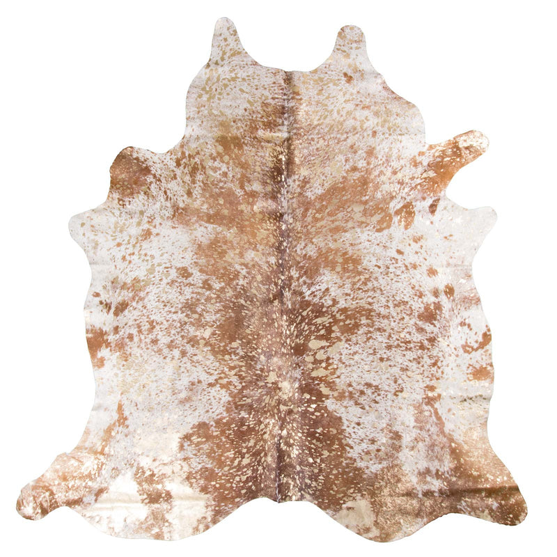 Devore Metallic Gold on Brown Salt & Pepper Cowhide Rug