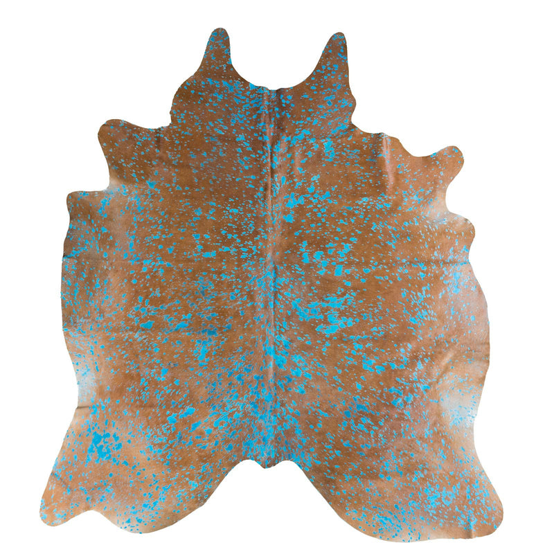 Turquoise Acid Wash on Brown Cowhide Rug - Rodeo Cowhide Rugs