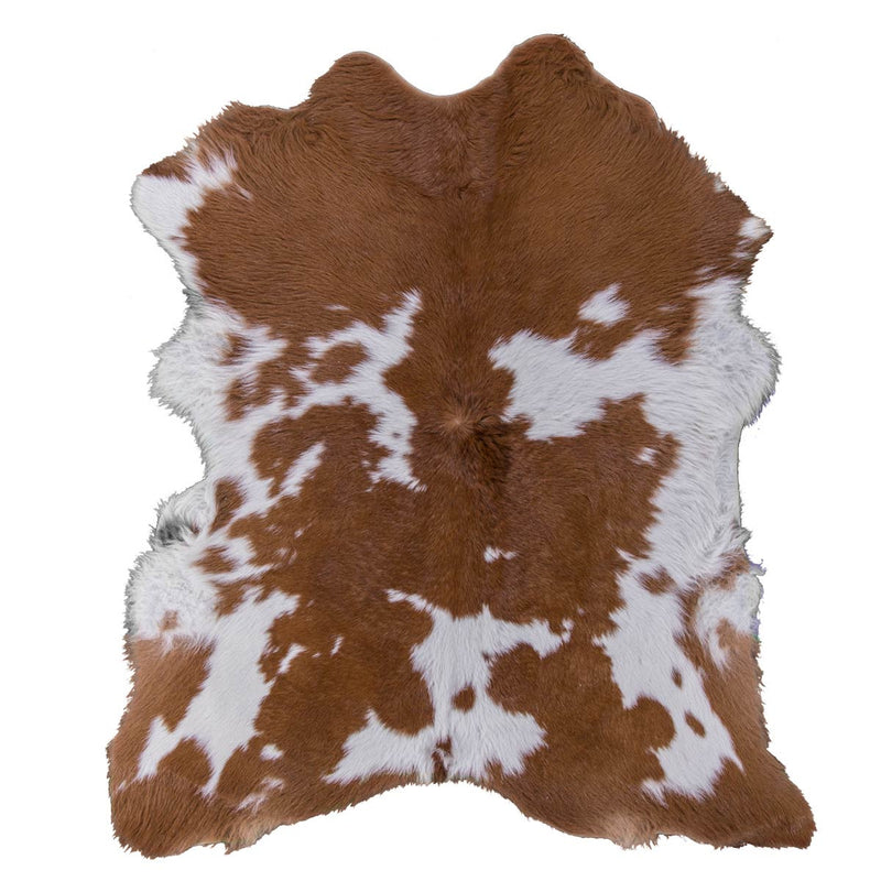 Hairy Brown and White Calfskin Rug