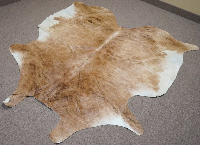 Large Brazilian Exotic Brown cowhide rug 6.4x 5.9 ft -3127 - Rodeo Cowhide Rugs