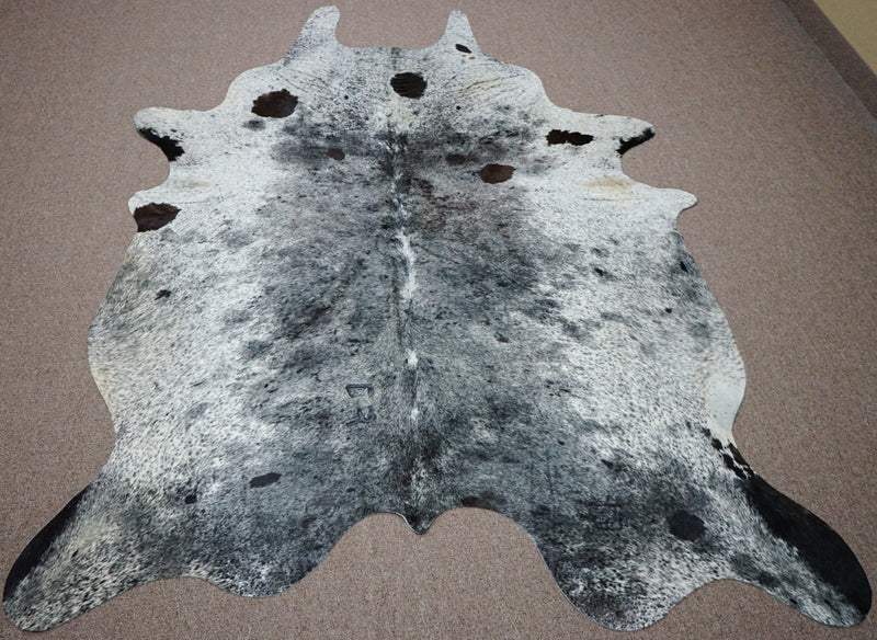 Extra Large Brazilian speckle style exotic Cowhide rug 7.4 X 5.9ft -3637