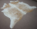 Large Brazilian salt and pepper exotic Cowhide rug 5.10 X 6.8ft -3666