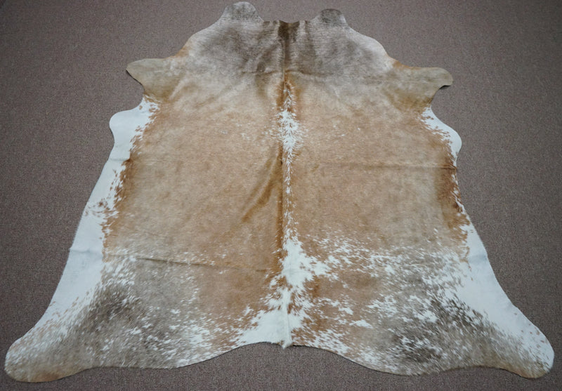 Large Brazilian rustic exotic Cowhide rug 6.10 X 6.3ft -3680