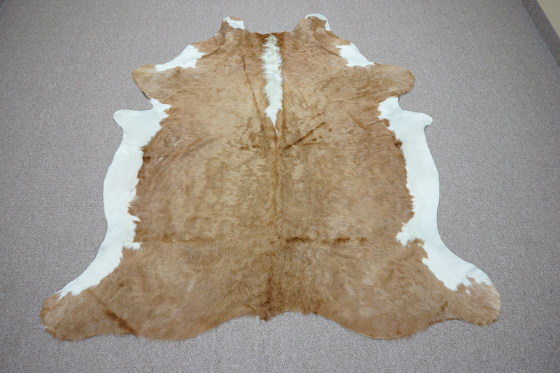 Large Brazilian rustic exotic Cowhide rug 6.7 X 6ft -3685
