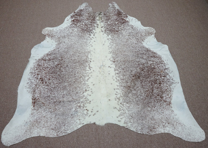Large Brazilian speckle exotic Cowhide rug 6 X 5.8ft -3700