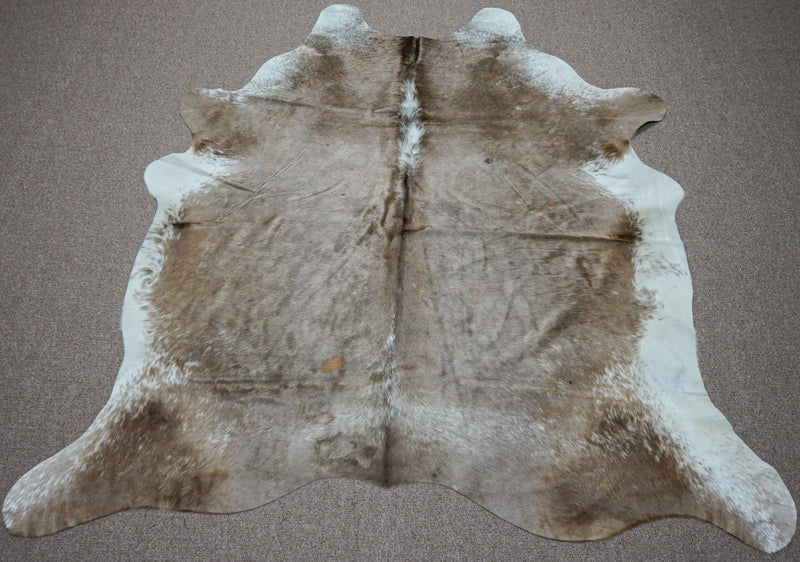Large Brazilian rustic exotic Cowhide rug 6.5 X 6.5ft -3723