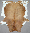 Extra Large Brazilian brindle exotic Cowhide rug 7.8 X 6.1ft -3744