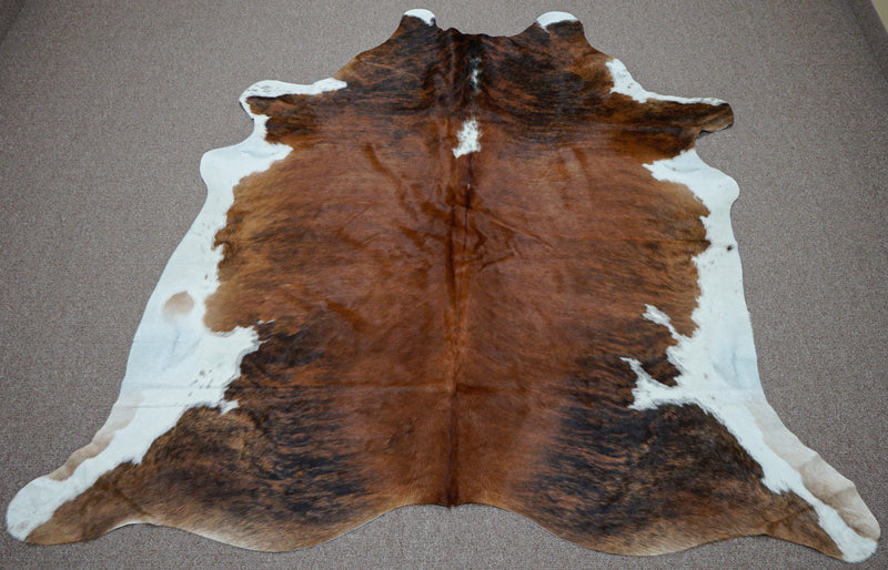Extra Large brindle style exotic Cowhide rug 7.3 X 6.2ft -3871
