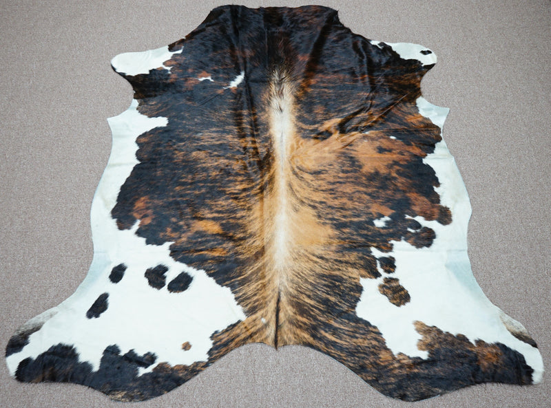 Extra Large brindle style exotic Cowhide rug 7 X 6.5ft -3872